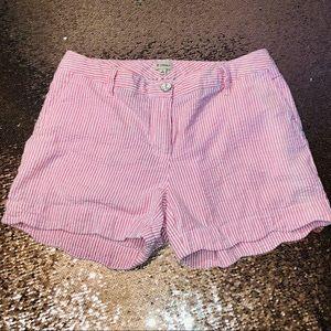 Cremieux light red/coral striped seersucker shorts